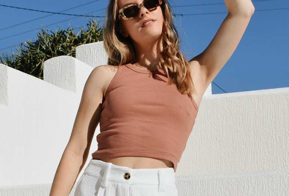 Crop top Ribbed High neck Stretch brick colour