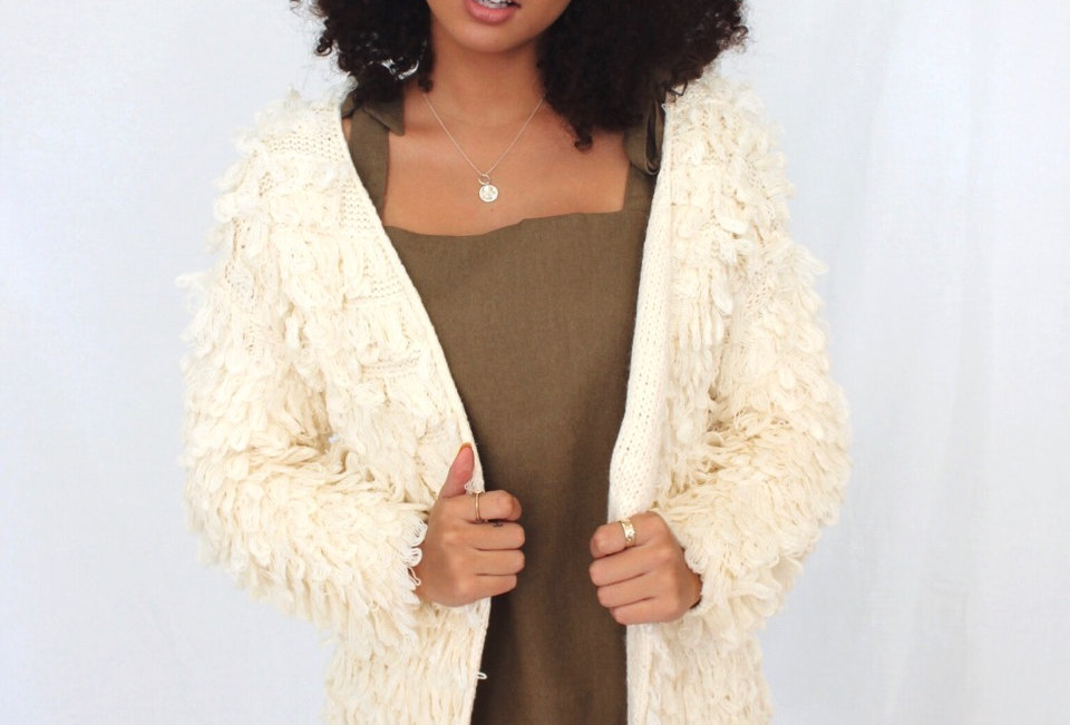 cream shaggy jacket
