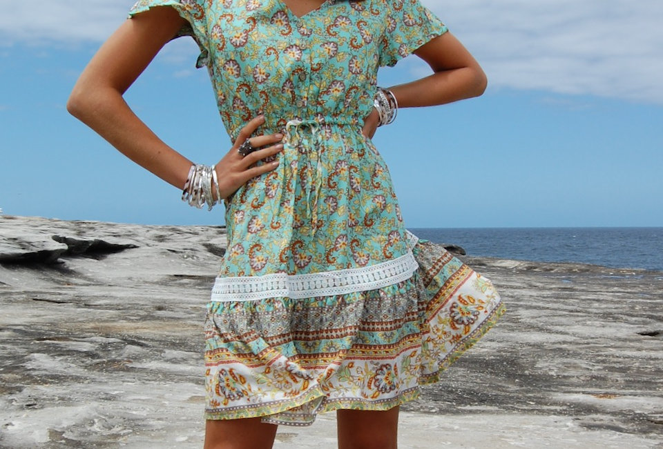 Cute boho mint colour patterned mini dress  Mini dress Draw string waist V neck Wooden buttons at front Cap sleeve 100%  Rayo