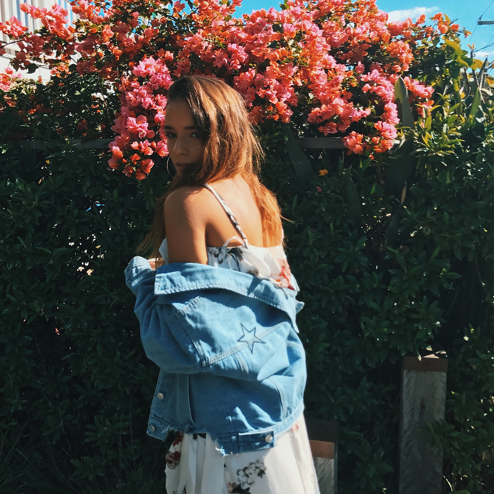 Cute floral two piece maxi set under denim jacket with star applique from Shine Boutiques Sunshine Coast Australia