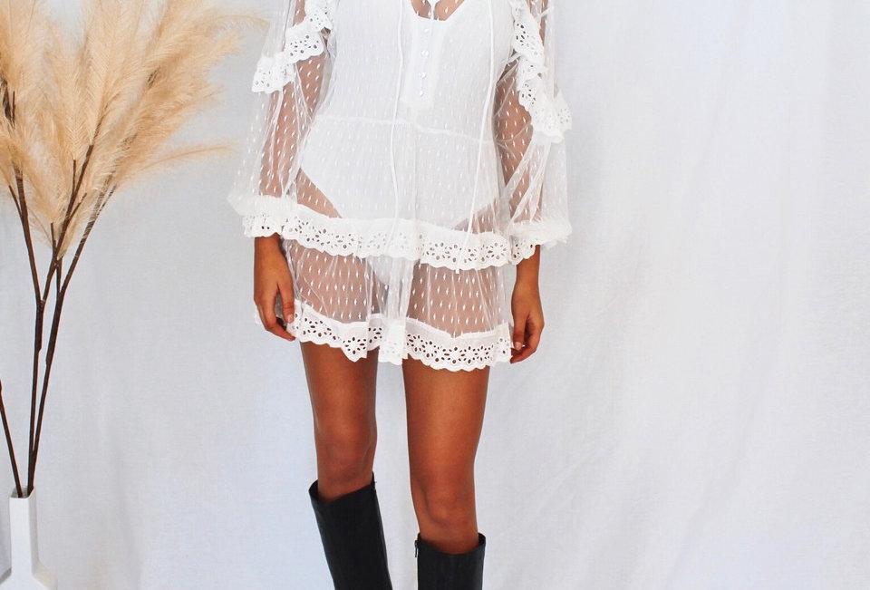 white lace mini dress, sheer, ties at front, long sleeve,Indikah