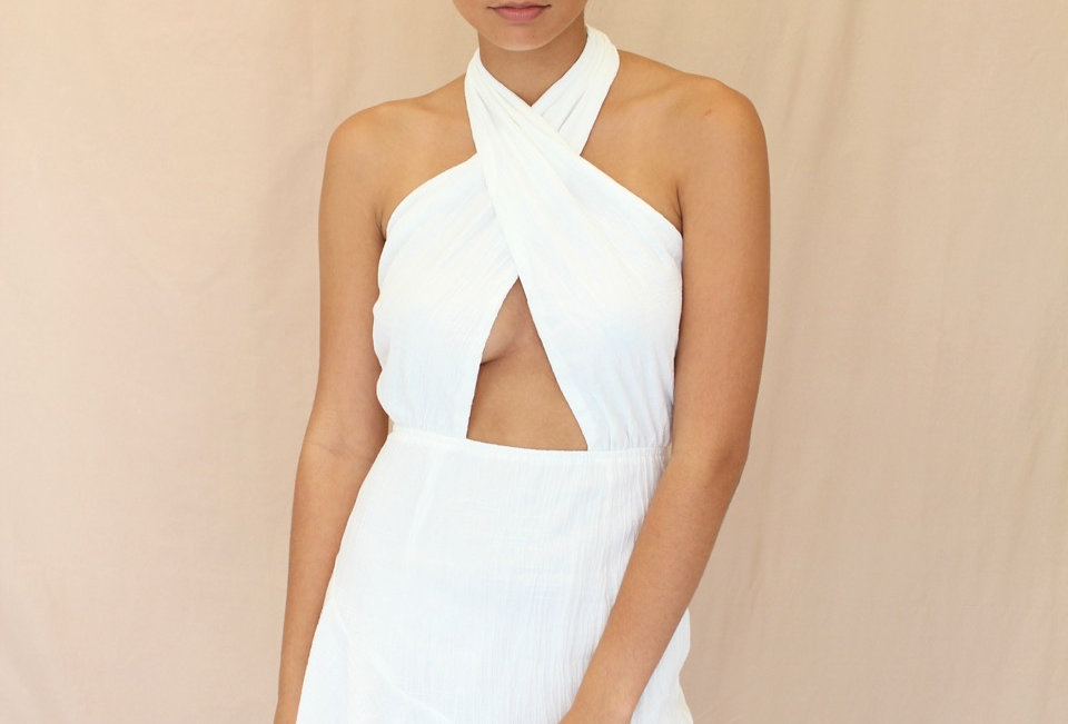 Stunning White Dress, Amazing Halterneck Style Look! Save This Outfit for a Stand Out Occasion!