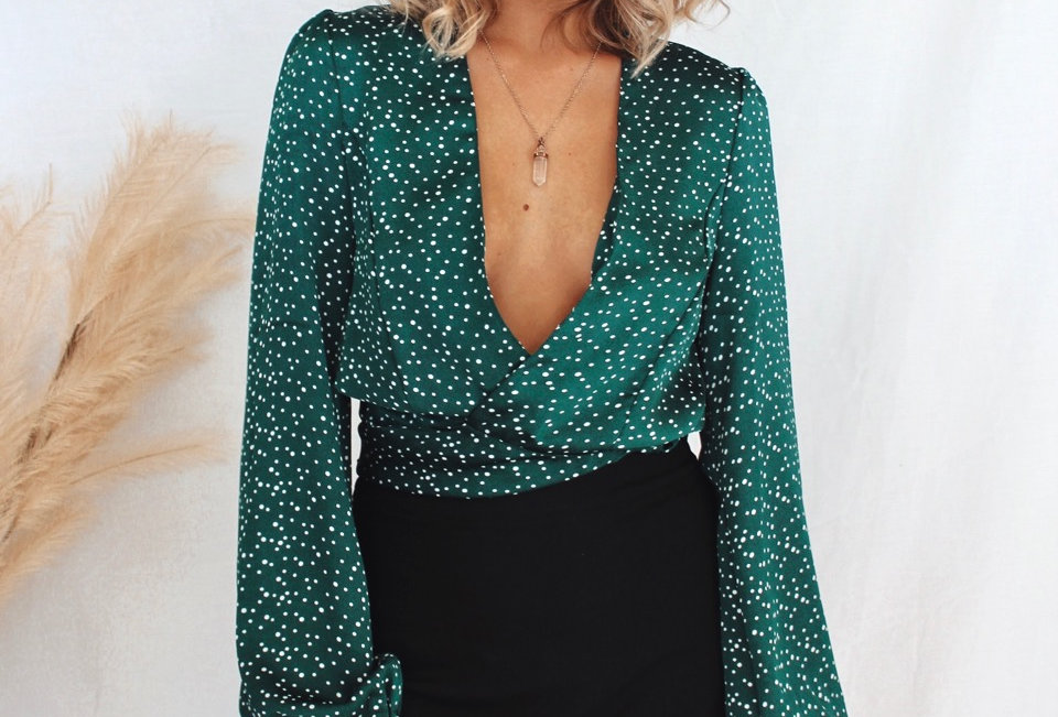 long sleeve silky emerald and white spot crop top