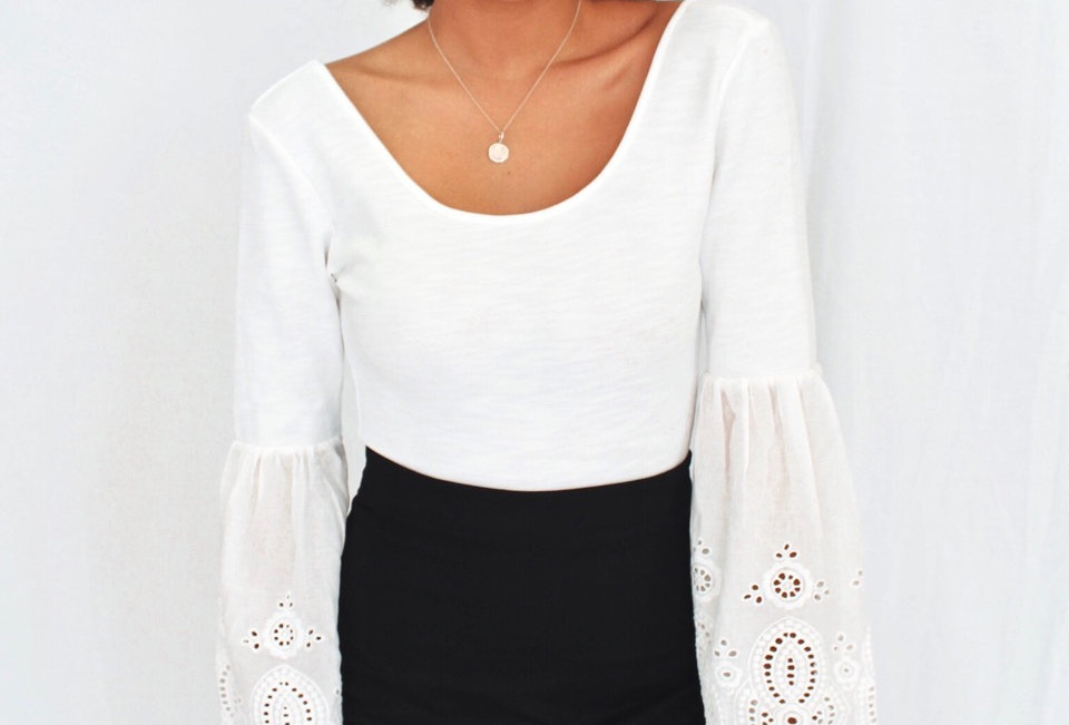 White bodysuit lace bell sleeve low back 1860-lb neon white