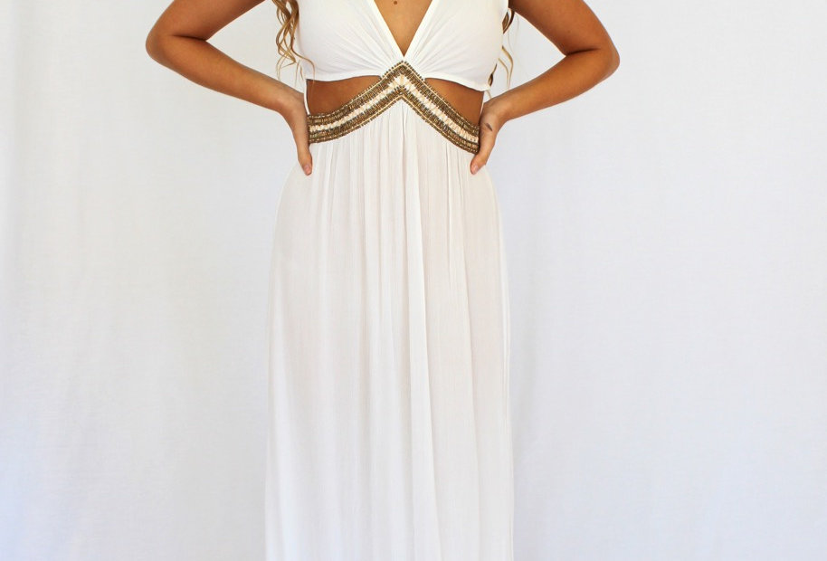 White Maxi Dress Gold Beading V neck
