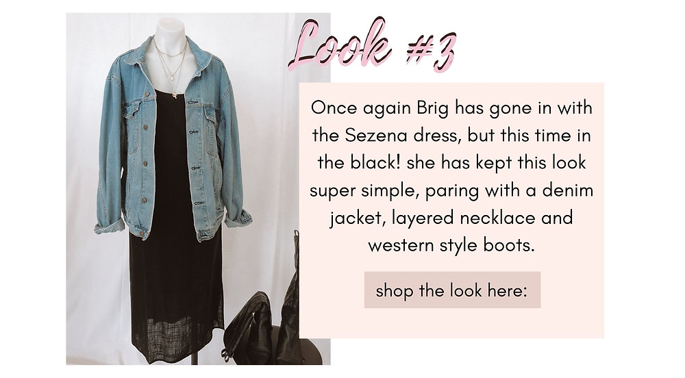 Sezana Dress black paired with a denim jacket, layered necklace and western style boots.