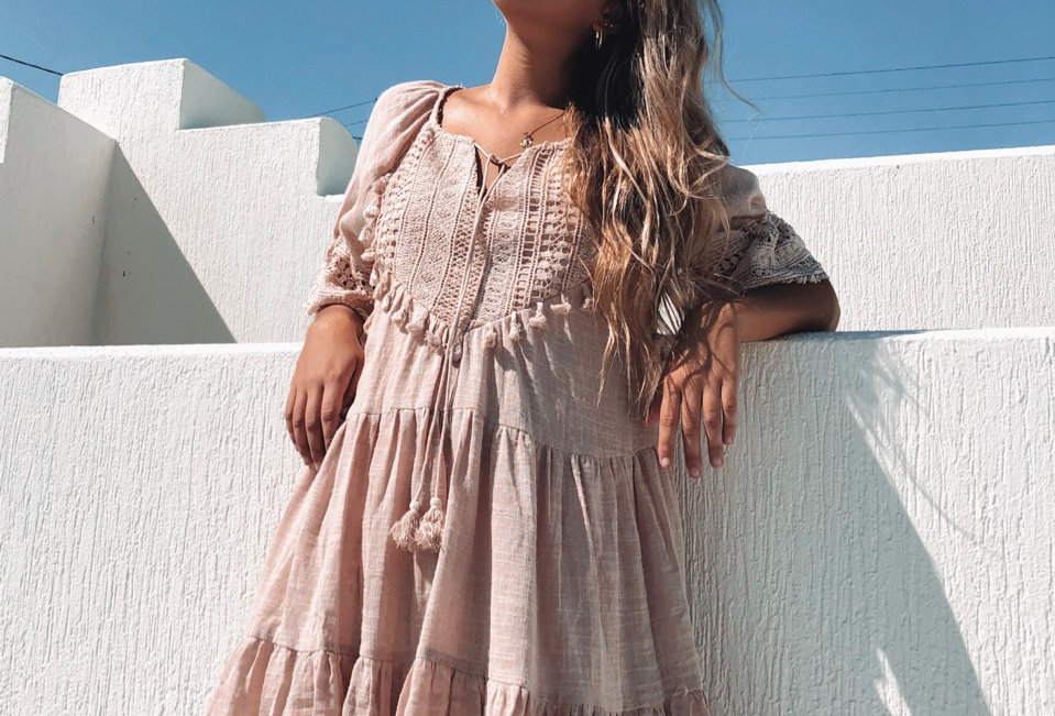 Cute beige boho styled dress, perfect for a beach day!