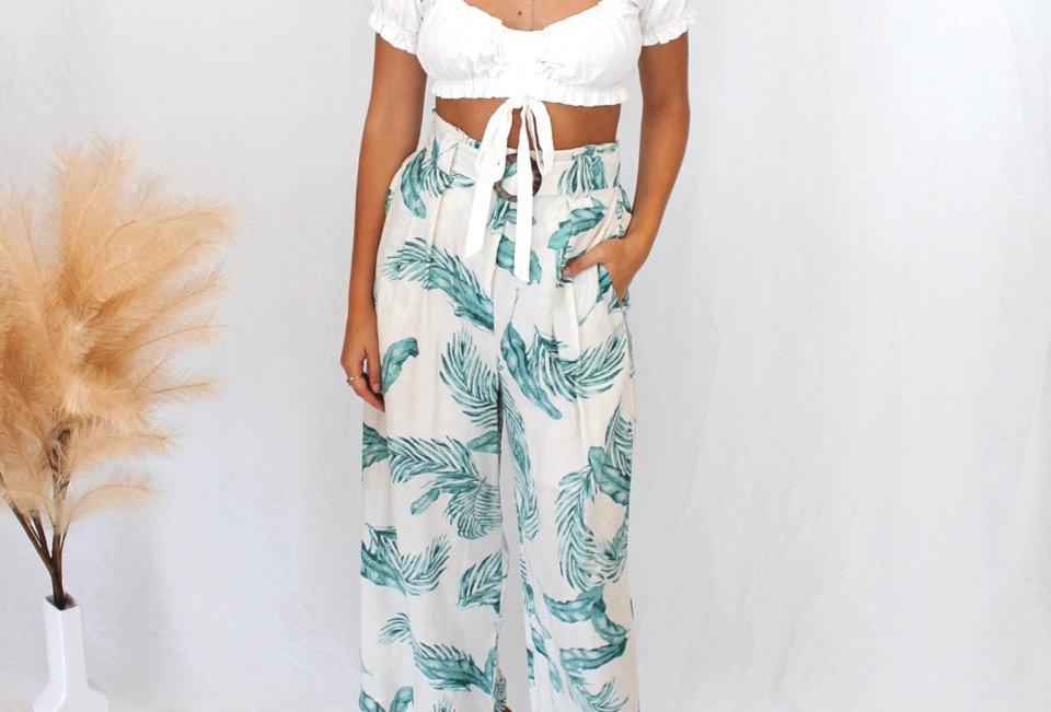 A50309 palm print linen styled culottet pants Brown wooden style belt loop Belt detail Zip at front Elastic at back Belt hold