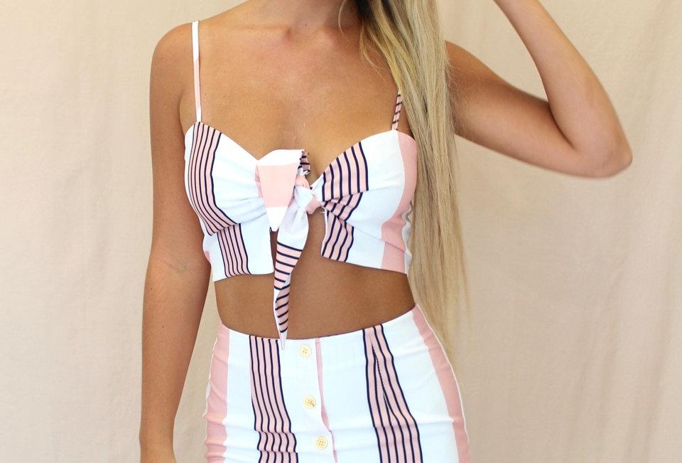 Stunning Stripe Set, Cute little crop with a little button up style skirt!