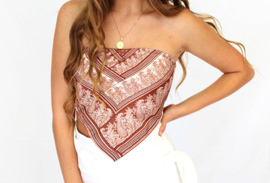 brown patterned bandana style top ties at back