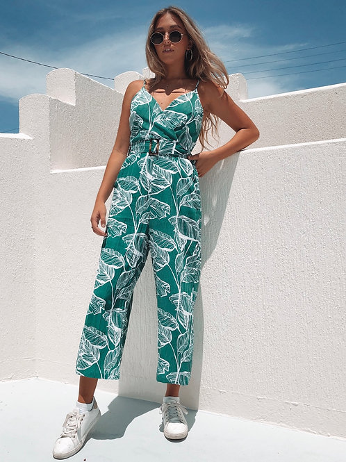 Stunning smart casual, palm tree print dark green playsuit!