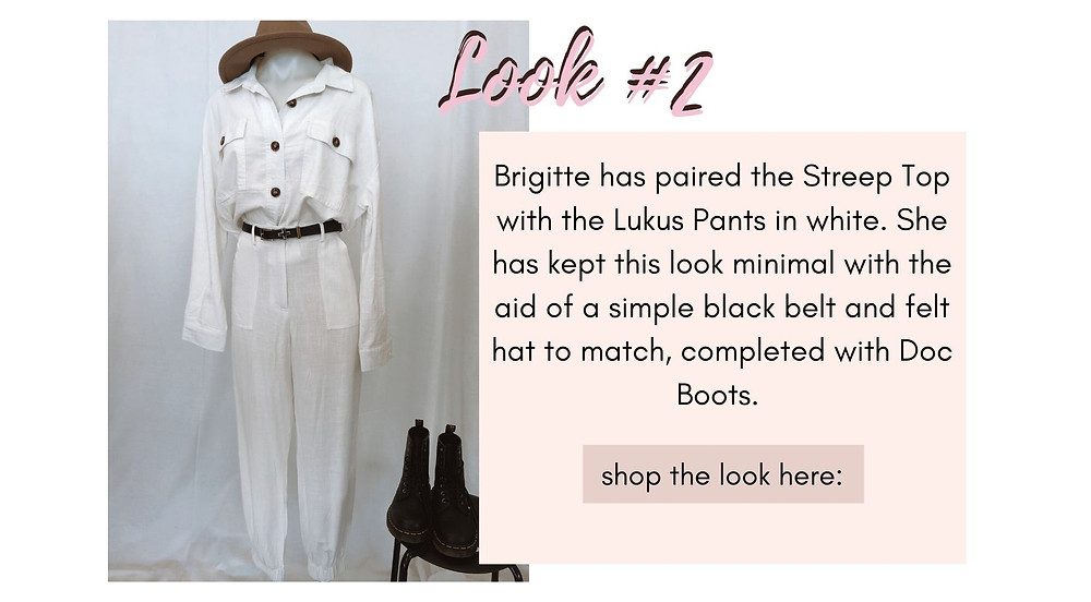 Streep Top matched with the Lukus Pants in white. A minimal look with the aid of a simple black belt and felt hat to match, completed with doc boots.