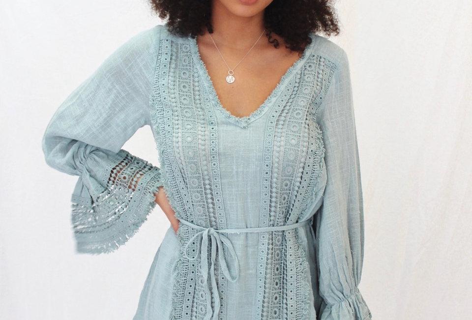 Cute boho aqua coloured dress, lace detail throughout on cheese cloth like fabric  INDIKAH ST1807B