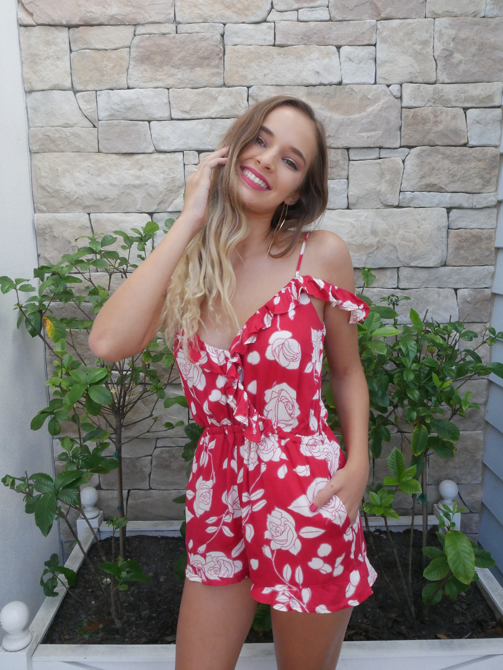 Minkpink Disney Red Playsuit With White Roses Off The Shoulder Playsuit from Shine Boutiques Sunshine Coast