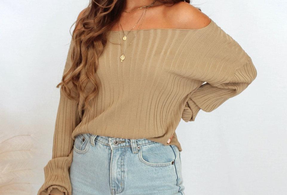 khaki off the shoulder lightweight knit top