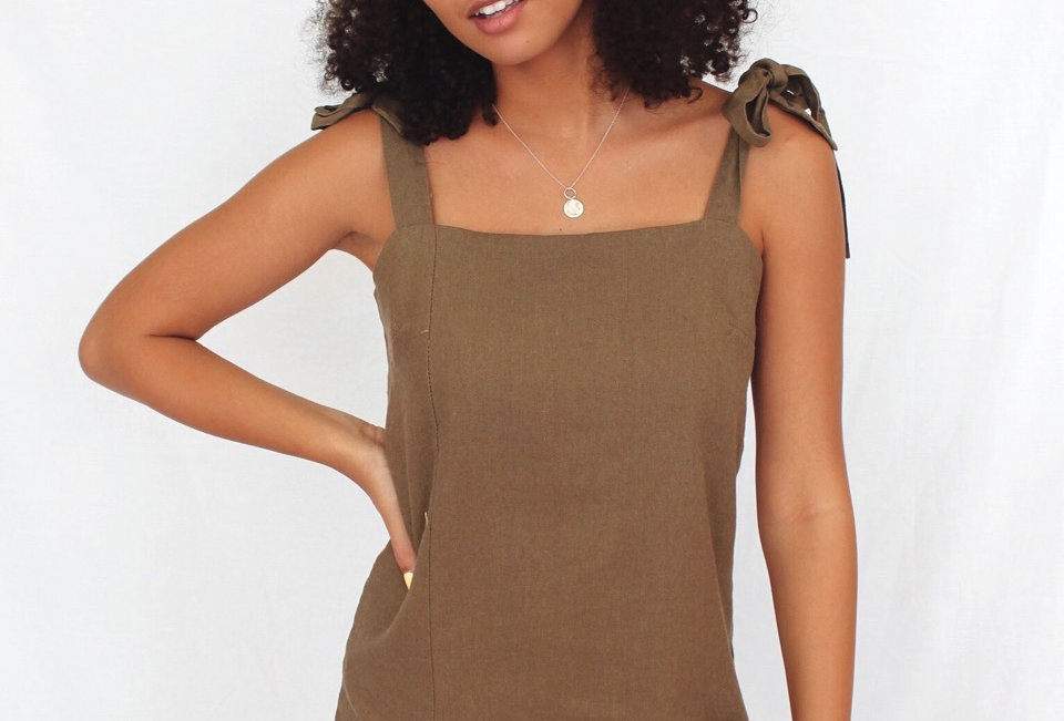 khaki dress ties at shoulders A line OSCAR ST 1851142