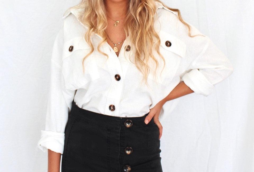Brown button up linen Blouse/jacket 1851213 Oscar ST