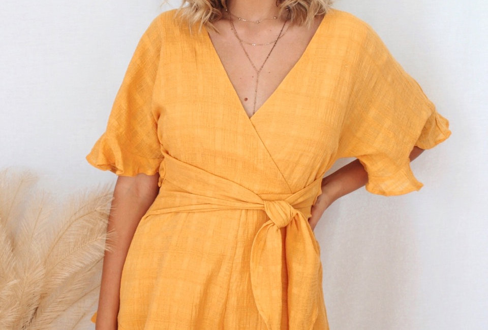 ST214D Mustard INDIKAH playsuit ties at front v neck zip at back, hook and eye