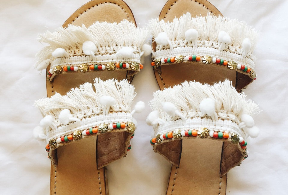 Fringing detailed slides, perfect for summer creating a cute easy look!