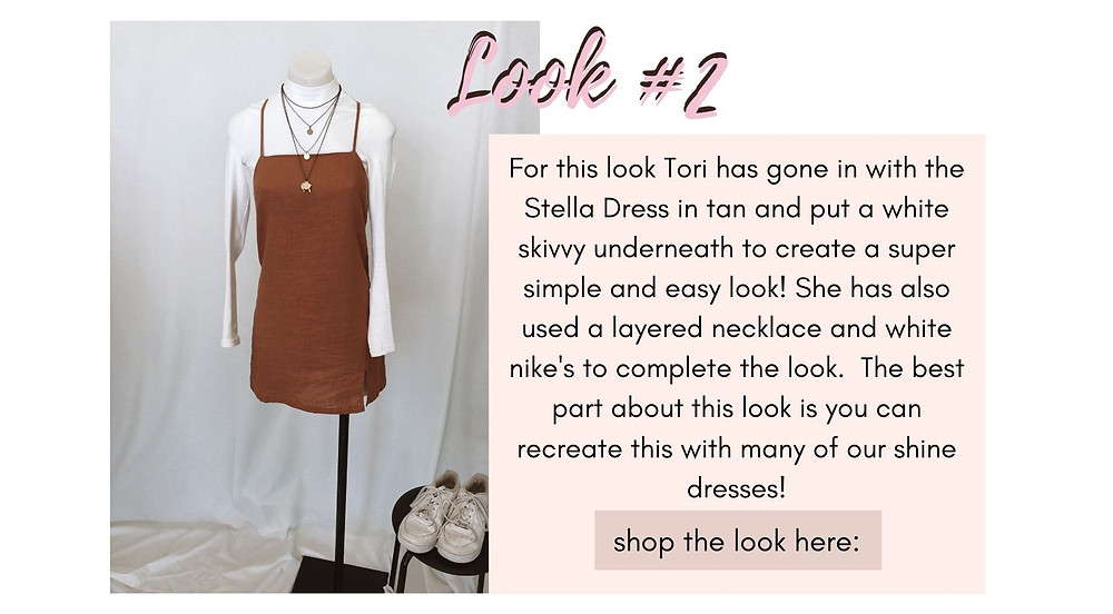 Stella Dress in tan matched with a white skivvy underneath to create a super simple and easy look. Accessorised with a layered necklace and white nike's to complete the look.