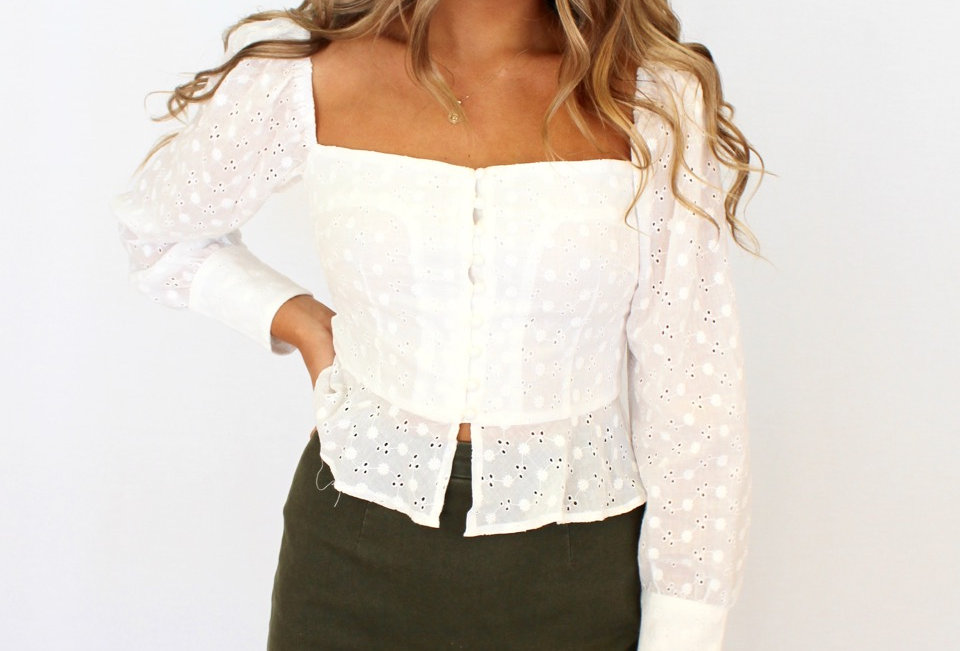 Stunning white lace top, perfect for cooler weather matched with fav pair of jeans!