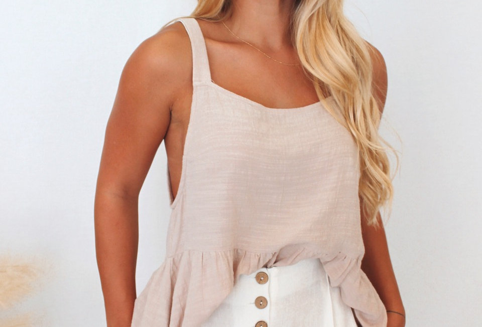 Casual beige loose fitting linen style top Textured Linen and cotton look top Easy fit Decorative Shell button with loops