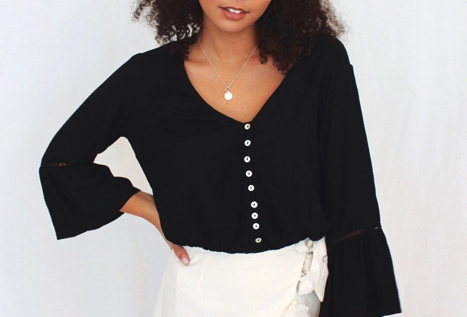 Black long sleeve top v neck bell sleeve detail buttons at front Mia YM30712916