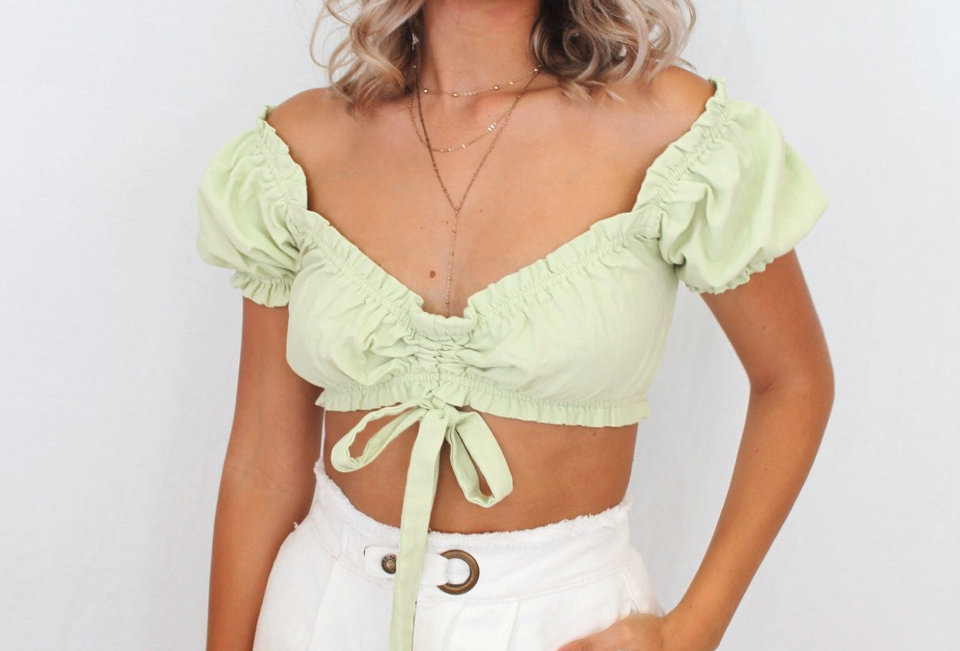 lime green crop top Crop top Ties at front Cute style Stunning pastel mint green colour Linen look