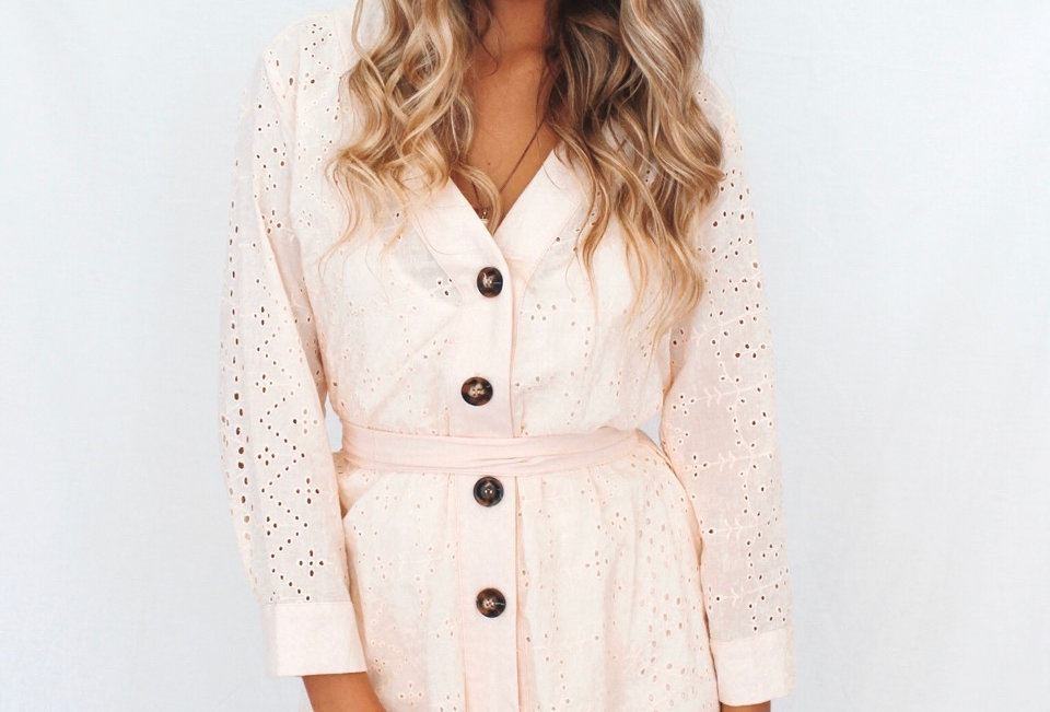 Broderie Anglaise dress in pink sorbet colour brown buttons down front v neck waist tie BL015