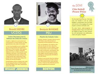 3rd annual Cite Soleil Peace Prize