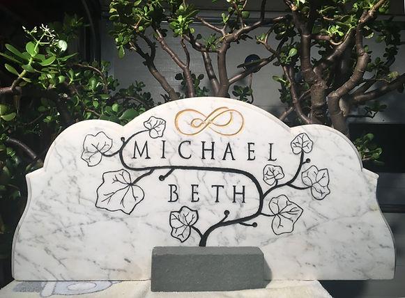 2018 Mike Beth, wedding gift, marble  w