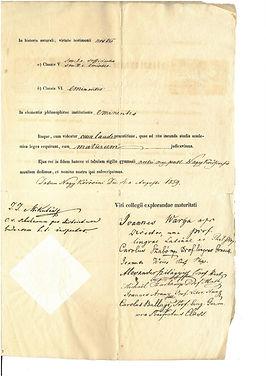 Sigray Pál érettségi biz. Nagykőrös 1859