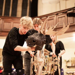 Prototype Bancu Reindeer Puppet in Rehearsal