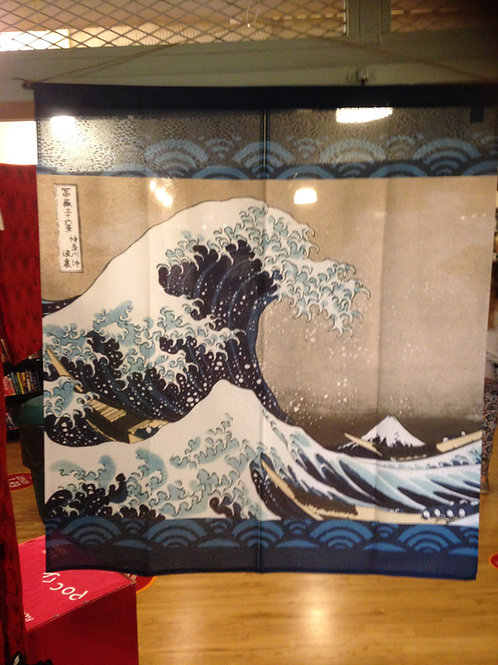 Square Noren of the great wave off Kanagawa