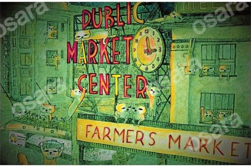 Cats in the Market Poster