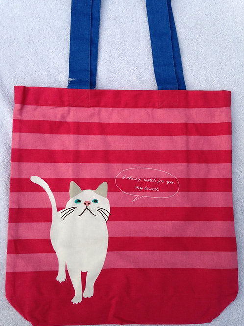 White Cat with Red Stripes