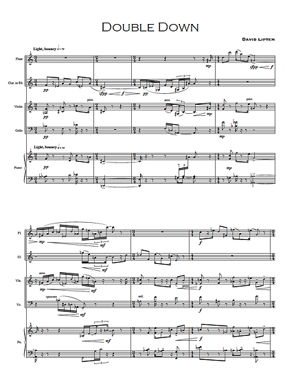 First page of Double Down for Chamber Quintet