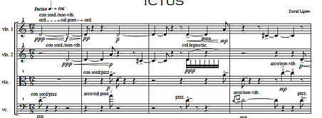 First system from page 1 of Ictus for String Quartet
