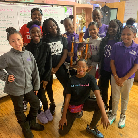 Royal /vision Step Team poses with their 2nd place step trophy