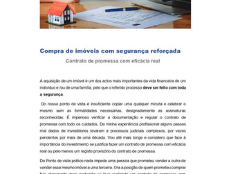 Compra de imóveis com segurança reforçada- Contrato de promessa com eficácia real