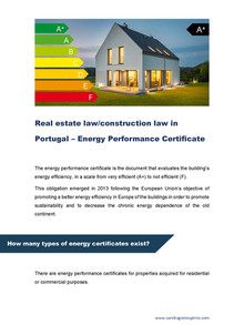 Real estate law/construction law in Portugal – Energy Performance Certificate