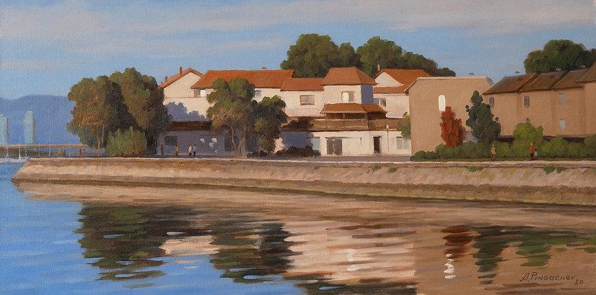 Evening City Oil on Canvas Panel 12x24.j