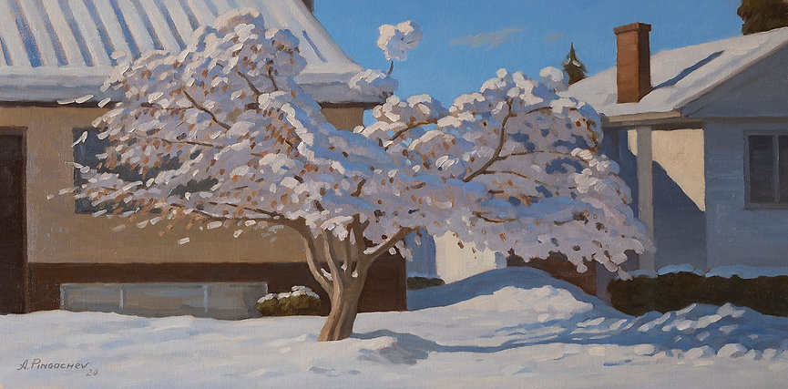 Sunny Winter day Oil on Canvas Panel 12x