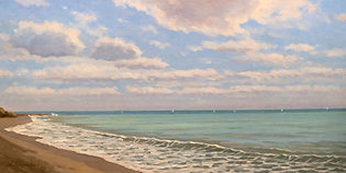 By the Ocean Oil on Canvas Panel 12x24.j