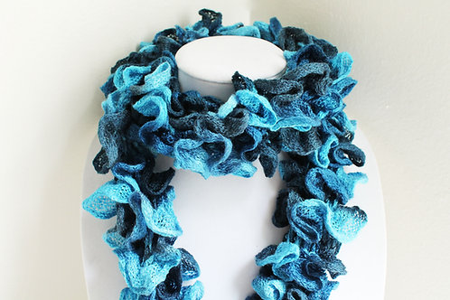 Blue and Dark Blue Ruffle Scarf