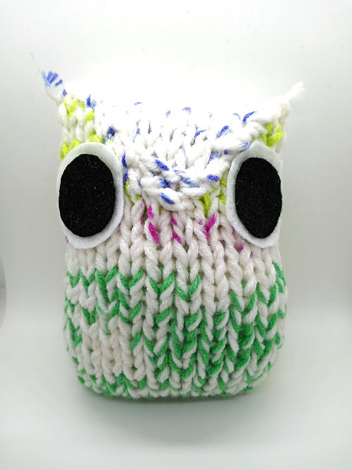 White Green and Lime Radical Owl Stuffed Toy