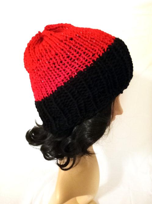 Red Sparkle Knit Beanie Hat