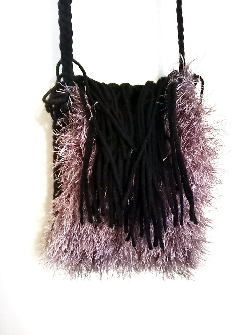 Brown Fur and Black Tassels Cross Body Bag