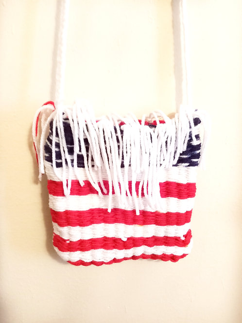 Blue, Red, and White Tassels Cross Body Bag