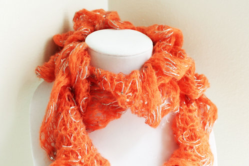 Orange and Silver Sequin Ruffle Scarf